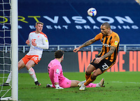 Blackpool's Chris Maxwell saves at the feet of Hull City's Josh Magennis<br /> <br /> Photographer Andrew Vaughan/CameraSport<br /> <br /> The EFL Sky Bet League One - Hull City v Blackpool - Saturday 16th January 2021 - KCOM Stadium - Kingston upon Hull<br /> <br /> World Copyright © 2021 CameraSport. All rights reserved. 43 Linden Ave. Countesthorpe. Leicester. England. LE8 5PG - Tel: +44 (0) 116 277 4147 - admin@camerasport.com - www.camerasport.com