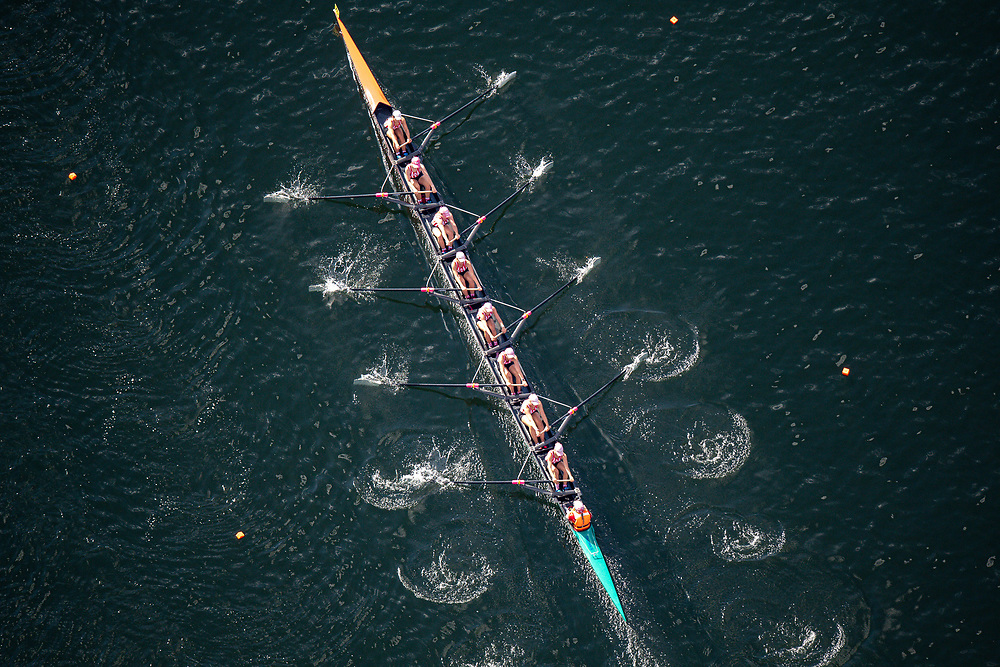 Lane 6. St Margaret's College. Hannah Wylie (stroke), Bree O'Malley, Alice Davidson, Grace Farrell, Maddy Meates, Harriet Simpson, Belle Richards, Charlotte Parker + Stella Wright (cox)<br /> <br /> Aerial view of the Maadi Cup course during the racing of the heats for the U18 eights at the 2021 AON New Zealand Secondary Schools Rowing Championships, The Maadi Cup on Lake Karapiro, Cambridge, New Zealand. Tuesday 23 March 2021.  Copyright photo © Steve McArthur / www.vigour.nz