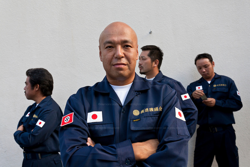 Shinichi Kamijo, the co-founder of Gishin Gokoku-kai nationalist group attending the commemorations of the end of the Pacific War on August 15th at Tokyo controversial Yasukuni Shrine, Kudanshita Tokyo, Japan. Thursday August 15th 2013