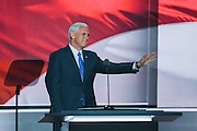GOP Vice Presidential nominee Gov. Mike Pence becomes emotional after speaking about his mother during his accepted speech at the third day of the Republican National Convention July 20, 2016 in Cleveland, Ohio.