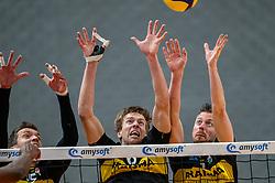 Sjoerd Hoogendoorn of Dynamo, Nico Manenschijn of Dynamo, Jeroen Rauwerink of Dynamo in action during the second final league match between Amysoft Lycurgus vs. Draisma Dynamo on April 24, 2021 in Groningen.