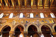 Byzantine mosaics depicting scenes from the Bible in the Cathedral of Monreale - Palermo - Sicily Pictures, photos, images & fotos photography .<br /> <br /> If you prefer you can also buy from our ALAMY PHOTO LIBRARY  Collection visit : https://www.alamy.com/portfolio/paul-williams-funkystock/monrealeduomomosaics.html. Refine search by adding subject etc  into the LOWER SEARCH WITHIN GALLERY box. <br /> <br /> Visit our BYZANTINE MOSAIC PHOTO COLLECTION for more   photos  to download or buy as prints https://funkystock.photoshelter.com/gallery-collection/Roman-Byzantine-Art-Artefacts-Antiquities-Historic-Sites-Pictures-Images-of/C0000lW_87AclrOk