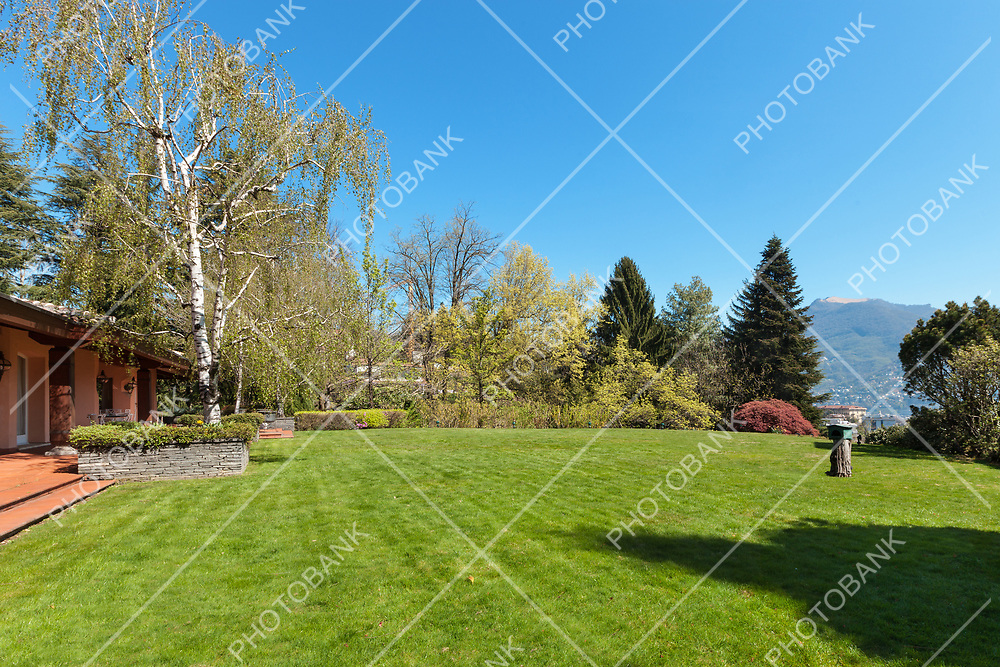 Green lawn and beautiful house in a sunny spring day