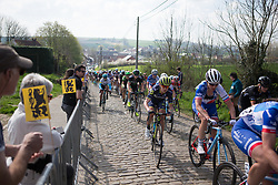 Jessica Allen (AUS) of Orica-AIS Cycling Team climbs the Eikenberg during the Ronde Van Vlaanderen - a 153.2 km road race, starting and finishing in Oudenaarde on April 2, 2017, in East Flanders, Belgium.