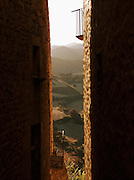 A sountryside view through a narrow passage in the hilltop town Sos del Rey Catolico, near San Sebastian, Spain