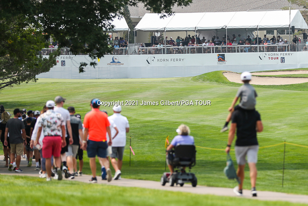 FARMINGTON, UT - AUGUST 08: Fans walk on the 18th hole during the final round of the Utah Championship presented by Zions Bank at Oakridge Country Club on August 8, 2021 in Farmington, Utah. (Photo by James Gilbert/PGA TOUR via Getty Images)