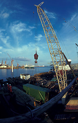 Crane lifting a shipping container at the Port of Houston