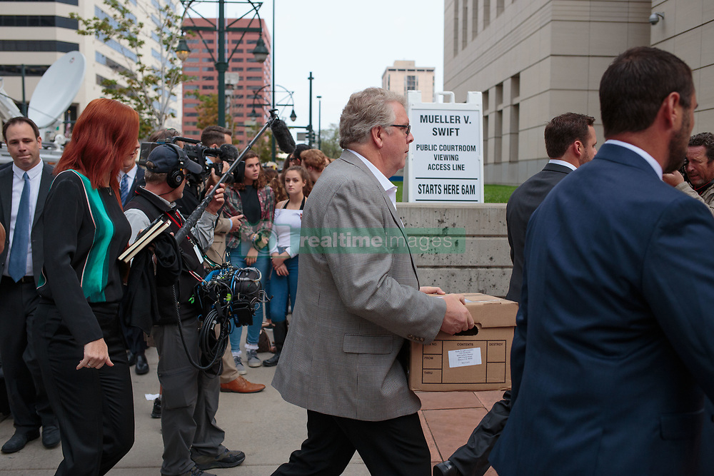 August 8, 2017 - Denver, Colorado, U.S - People enter the courthouse at the Taylor Swift Groping Trial against radio DJ David Mueller at the Alfred A. Arraj United States Courthouse. Swift was present in court as an eight-member jury was selected to hear her civil trial against former Denver radio host David Mueller. (Credit Image: © Matthew Staver via ZUMA Wire)