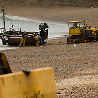 Boat hauled out of the water , hastings, East wessex, England