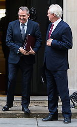 Downing Street, London, October 18th 2016. International Trade Secretary Liam Fox (left) and Secretary of State for Exiting the European Union David Davis leave 10 Downing Street in London following the weekly cabinet meeting.