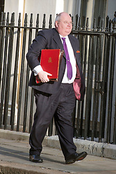 © Licensed to London News Pictures. 08/04/2014. London, UK Eric Pickles, Secretary of State for Communities and Local Government , arrives at the Cabinet Meeting 8th April 2014. Photo credit : Stephen Simpson/LNP