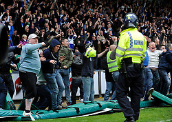 Bristol Rovers fans invade the pitch on the final whistle - Photo mandatory by-line: Dougie Allward/JMP - Mobile: 07966 386802 26/04/2014 - SPORT - FOOTBALL - High Wycombe - Adams Park - Wycombe Wanderers v Bristol Rovers - Sky Bet League Two