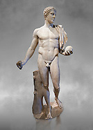 Diomedes - A 2nd or 3rd century AD Roman copy of a Greek classical sculpture from about 430-370 BC. This Roman statue represent Diomede, one of the Greek hero of the Trojan War. This statue belongs to a series of ancient replicas (Naples, Munich), which copy the original Greek statue from the school of Polykleitos, attributed to the sculptor Naucydes or Cresilas who worked in Athens to 440-430 BC. From the Cardinal Richelieu Collection  Inv MR 265   (or Ma 890), The Louvre Mueum, Paris. .<br /> <br /> If you prefer to buy from our ALAMY STOCK LIBRARY page at https://www.alamy.com/portfolio/paul-williams-funkystock/greco-roman-sculptures.html- Type -    Louvre    - into LOWER SEARCH WITHIN GALLERY box - Refine search by adding a subject, place, background colour,etc.<br /> <br /> Visit our CLASSICAL WORLD HISTORIC SITES PHOTO COLLECTIONS for more photos to download or buy as wall art prints https://funkystock.photoshelter.com/gallery-collection/The-Romans-Art-Artefacts-Antiquities-Historic-Sites-Pictures-Images/C0000r2uLJJo9_s0c