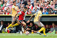 Excelsior player Denis Mahmudov (l) Feyenoord player Mo El Hankouri (m) Excelsior player Jeffry Fortes during the Dutch football Eredivisie match between Feyenoord and Excelsior at De Kuip Stadium in Rotterdam, on August 19th, 2018 - Photo Stanley Gontha / Pro Shots / ProSportsImages / DPPI