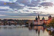 Charles Bridge at dawn in Prague, Czech Republic
