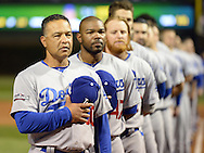 CHICAGO, IL - OCTOBER 15:  Manager Dave Roberts #40 of the Los Angeles Dodgers looks on during the National Anthem prior to Game 1 of NLCS against the Chicago Cubs at Wrigley Field on Saturday, October 15, 2016 in Chicago, Illinois. (Photo by Ron Vesely/MLB Photos via Getty Images) *** Local Caption *** Dave Roberts