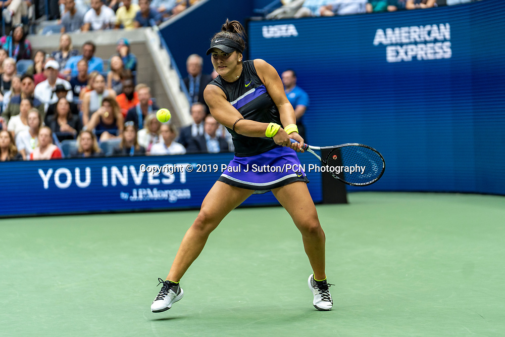 Bianca Andreescu of Canada competing in the finals of the Women's Singles at the 2019 US Open Tennis