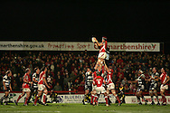 EDF Energy cup, Scarlets v Bristol Rugby at Stradey Park, Llanelli on 24th Oct 2008. action from the last ever match at the famous ground..Simon Easterby of the Scarlets wins a lineout
