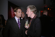 Hamish Bowles and Philip Treacy, Party hosted by Linda Evangelista and Mac Cosmetics. The Hospital. London. 18 September 2005. ONE TIME USE ONLY - DO NOT ARCHIVE © Copyright Photograph by Dafydd Jones 66 Stockwell Park Rd. London SW9 0DA Tel 020 7733 0108 www.dafjones.com