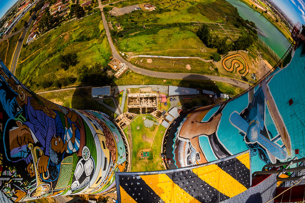 Looking off the 100 meter (328 foot) bungee jump at Orlando Towers at the decomissioned Orlando Power Station (former coal fired power station), Soweto, Johannesburg, South Africa.