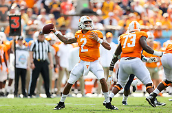 Sep 1, 2018; Charlotte, NC, USA; Tennessee Volunteers quarterback Jarrett Guarantano (2) passes the ball during the first quarter at Bank of America Stadium. Mandatory Credit: Ben Queen-USA TODAY Sports