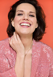 Portrait of Woman with Dark hair Smiling