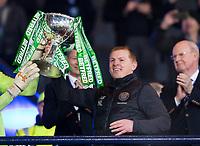 Football - 2019 Betfred Scottish League Cup Final - Celtic vs. Rangers<br /> <br /> Celtic manager Neil Lennon lifts the trophy, Hampden Park Glasgow.<br /> <br /> COLORSPORT/BRUCE WHITE
