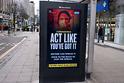 Latest version of the HM Government, and NHS advice boards which are advising people to act like youve got it and that anyone can spread the virus and to follow the rules during the third national coronavirus lockdown in Birmingham on 18th January 2021 in Birmingham, United Kingdom. Following the recent surge in cases including the new variant of Covid-19, this nationwide lockdown, which is an effective Tier Five, advises all citizens to follow the message to stay at home, protect the NHS and save lives.