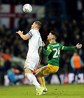 Leeds United's Liam Cooper vies for possession with Preston North End's Sean Maguire<br /> <br /> Photographer Rich Linley/CameraSport<br /> <br /> The EFL Sky Bet Championship - Leeds United v Preston North End - Thursday 26th December 2019 - Elland Road - Leeds<br /> <br /> World Copyright © 2019 CameraSport. All rights reserved. 43 Linden Ave. Countesthorpe. Leicester. England. LE8 5PG - Tel: +44 (0) 116 277 4147 - admin@camerasport.com - www.camerasport.com