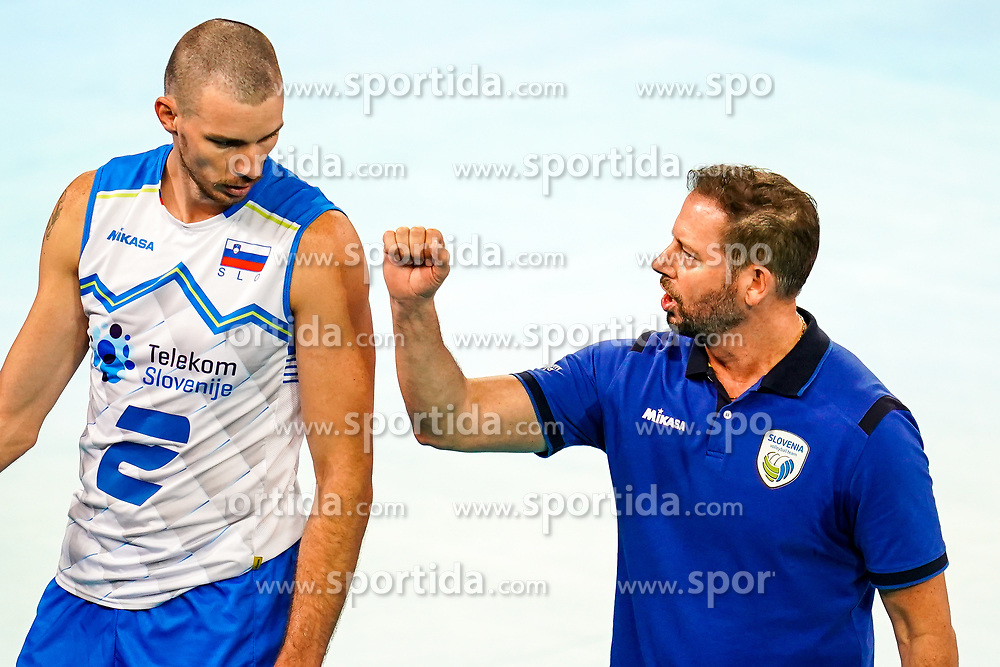 Alen Pajenk of Slovenia and Alberto Giuliani, head coach of Slovenia during volleyball match between Cuba and Slovenia in Final of FIVB Volleyball Challenger Cup Men, on July 7, 2019 in Arena Stozice, Ljubljana, Slovenia. Photo by Matic Klansek Velej / Sportida