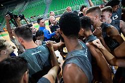 Players with staff of KK Cedevita Olimpija at press conference of KK Cedevita Olimpija in Arena Stozice on August 7th, 2019, in Arena Stozice, Ljubljana, Slovenia.Photo by Grega Valancic / Sportida