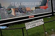 "Peeling billboard reveals older layers of Primesight street advertising incl a dystopian ""It's a wonderful world."""