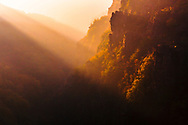 Sunlit mountain gorge