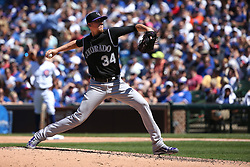 June 10, 2017 - Chicago, IL, USA - Colorado Rockies starting pitcher Jeff Hoffman works agaisnt the Chicago Cubs in the fifth inning at Wrigley Field in Chicago on Saturday, June 10, 2017. The Rockies won, 9-1. (Credit Image: © Chris Sweda/TNS via ZUMA Wire)
