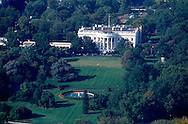 An aerial view of the White House.