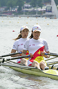 Poznan, POLAND.   2004 FISA World Cup, Malta Lake Course.  <br /> <br /> Fri. morning from the start pontoon<br /> <br /> CHN W2X Bow  Yuenan Pan and Jing Yu..<br /> <br /> 09.05.2004<br /> <br /> [Mandatory Credit:Peter SPURRIER/Intersport Images]