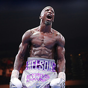 Willie Nelson screams after knocking out Tony Harrison during their Premier Boxing Champions boxing match on ESPN at the USF Sun Dome, on Saturday, July 11, 2015 in Tampa, Florida.  Nelson won the match by TKO. (AP Photo/Alex Menendez)