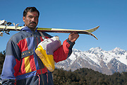 A north Indian ski instructor on 29th December 2008 in the Himalayan ski resort of Auli. Auli is a small ski resort near Joshimath in the Himalayan state of Uttarakhand in Northern India.