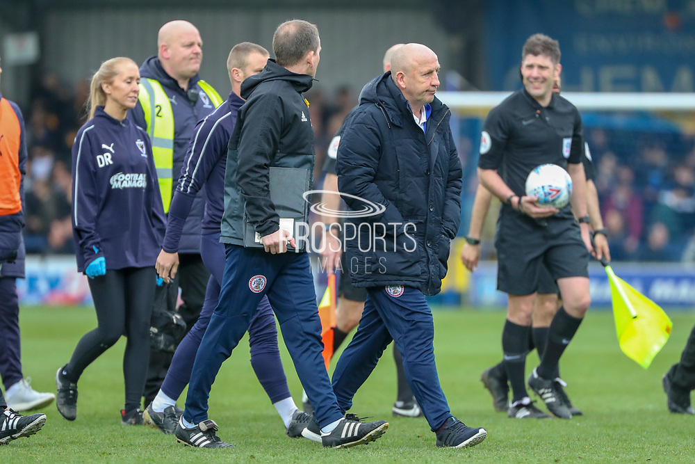 Accrington Stanley manager John Coleman walking off the pitcg during the EFL Sky Bet League 1 match between AFC Wimbledon and Accrington Stanley at the Cherry Red Records Stadium, Kingston, England on 6 April 2019.