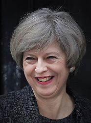 © Licensed to London News Pictures. 09/02/2017. London, UK. Prime Minister Theresa May smiles as she greets Prime Minister Paolo Gentiloni of Italy in Downing Street .Photo credit: Peter Macdiarmid/LNP