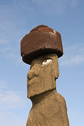 Chile, Easter Island: Statue or moai on a platform or ahu called Ahu Tahai near the town of Hanga Roa..Photo #: ch210-33115.Photo copyright Lee Foster www.fostertravel.com lee@fostertravel.com 510-549-2202