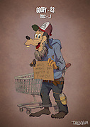 If Cartoon Characters Looked Their Age<br /> <br /> Andrew Tarusov, a Russian artist, created a series of illustrations portraying our favourite cartoon characters as pensioners. The artist imagined each of them having had a long and complicated life.<br /> <br /> Micky is the animation tycoon, Goofy didn't get insurance and became homeless, Daisy left Donald because of his gambling, Tom & Jerry have health problems because of their reckless youth and many of them are older than 80.<br /> <br /> Andrew Tarusov has  settled down in Los Angeles, California. Having studies for 10 years, his occupation is art and animation. He likes vintage style Pin-Ups and comics.<br /> <br /> Photo shows: Goofy – 83 (1932 – …)<br /> ©Excluisvepix Media