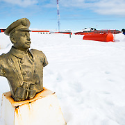 Bust of Luis Pardo Villalón (1882-1935) erected in tribute by the Chilean navy at Base Presidente Eduardo Frei Montalva on King George Island in the South Shetland Islands, Antarctica. Commonly known as Piloto Pardo, he was the captain of the steam tug Yelcho which rescued the 22 stranded crewmen of Sir Ernest Shackleton's ship Endurance from Elephant Island, Antarctica, in August 1916.