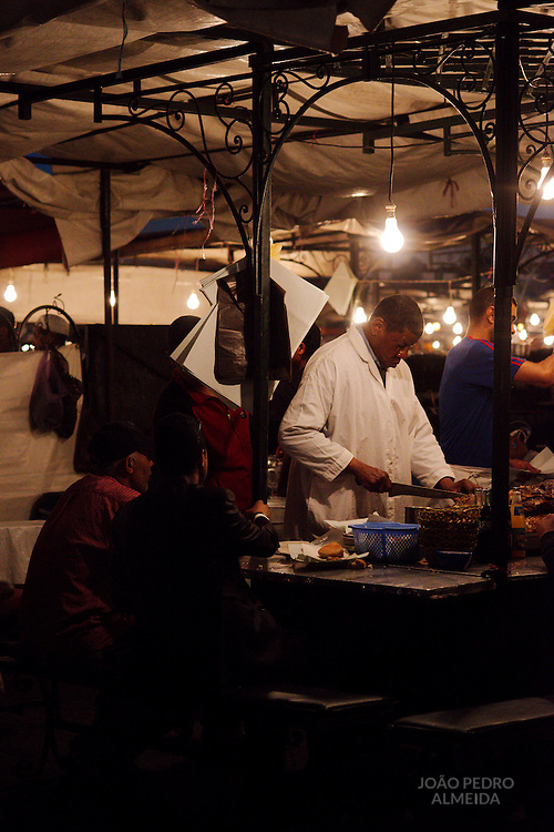 The food stands that fill the Jemaa el-Fnaa square at the end of the day