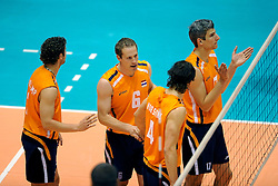18-05-2008 VOLLEYBAL: EK KWALIFICATIE NEDERLAND - SLOVENIE: ROTTERDAM<br /> Nederland wint ook de laatste wedstrijd met 3-0 - Kristian van der Wel, Robert Horstink, Yannick van Harskamp en Jeroen Trommel<br /> ©2008-WWW.FOTOHOOGENDOORN.NL
