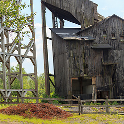 "Weatherly, PA, USA - June 20, 2013: The 1970 film Molly Maguires was filmed in Eckley Pennsylvania in 1969, and the wooden ""coal breaker"" was built as a prop."