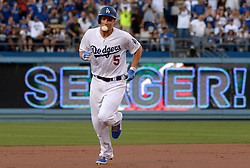 June 20, 2017 - Los Angeles, California, U.S. - Los Angeles Dodgers' Corey Seager (5) rounds second base blowing a bubble after hitting a two run home run in the first inning of a Major League baseball game against the New York Mets at Dodger Stadium on Tuesday, June 20, 2017 in Los Angeles. (Photo by Keith Birmingham, Pasadena Star-News/SCNG) (Credit Image: © San Gabriel Valley Tribune via ZUMA Wire)