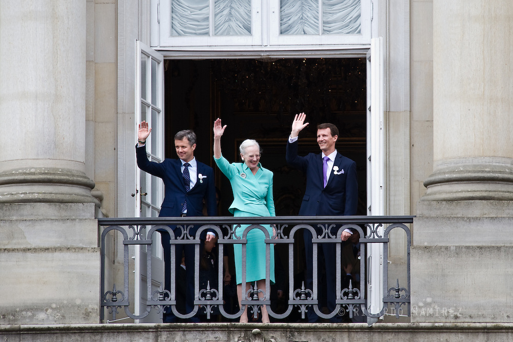 16.04.2015. Copenhagen, Denmark.<br /> Queen Margrethe II of Denmark, Crown Prince Frederik of Denmark (L) and Prince Joachim of Denmark (R) appear on the Balcony of Amalienborg Palace on her 75th Birthday.<br /> Photo:© Ricardo Ramirez