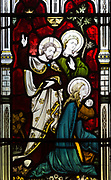 Victorian stained glass window detail of the Raising of the daughter of Jairus by Clayton and Bell, undated, Urchfont church, Wiltshire, England