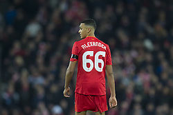 Halbfinale im Liga-Pokal Liverpool vs Leeds 1:0 in Liverpool / 291116<br /> <br /> ***LIVERPOOL, ENGLAND 29TH NOVEMBER 2016:<br /> Liverpool midfielder Trent Alexander-Arnold is seen during the English League Cup soccer match between Liverpool and Leeds at Anfield Stadium in Liverpool England November 29th 2016***